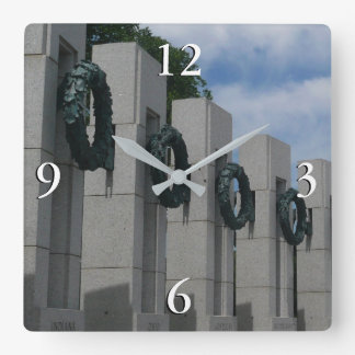 World War II Memorial Wreaths I Square Wall Clock