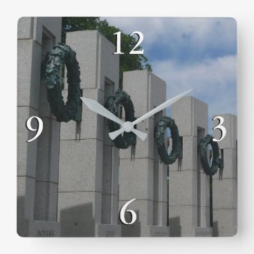 USA Themed World War II Memorial Wreaths I Square Wall Clock