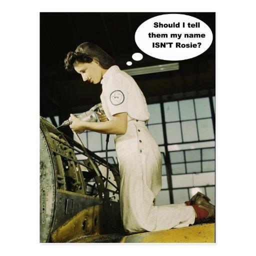 World War II Rosie Factory Worker Design Post Card
