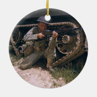 World War II Soldier Kneeling with Garand Rifle Ceramic Ornament