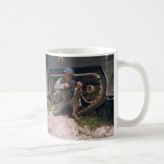 World War II Soldier Kneeling with Garand Rifle Classic White Coffee Mug