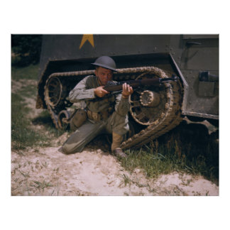 World War II Soldier Kneeling with Garand Rifle Poster