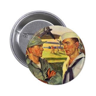 World War II soldier meets sailor Button