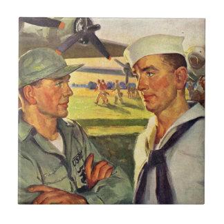 World War II soldier meets sailor Ceramic Tile