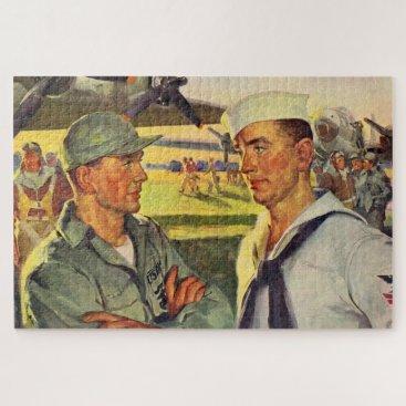 World War II soldier meets sailor Jigsaw Puzzle