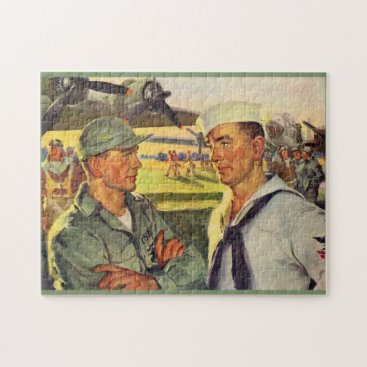 World War II soldier meets sailor Jigsaw Puzzle