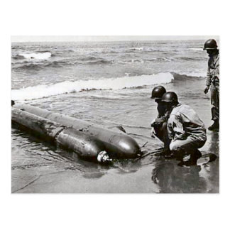 World War II    Torpedoes on the beach, ANzio Postcard
