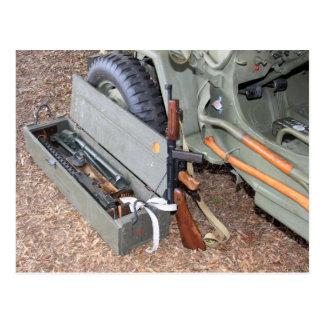 World War II Weapons & Kit By A Jeep Postcard