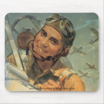 World War ll Pilot in Action Mouse Pad