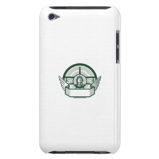 World War One Airman Biplane Circle Retro iPod Touch Cases