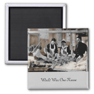 World War One Army Nurse and Staff with Patient 2 Inch Square Magnet