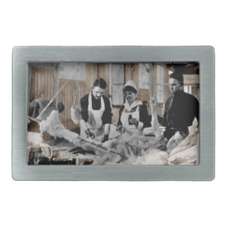World War One Army Nurse and Staff with Patient Rectangular Belt Buckles