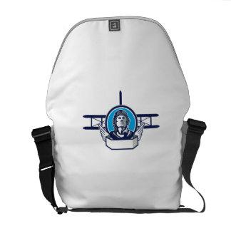 World War One Aviator Pilot Biplane Circle Retro Courier Bag