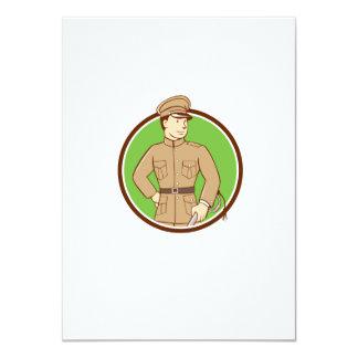 World War One British Officer Circle Cartoon 11 Cm X 16 Cm Invitation Card