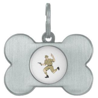 World War One British Officer Running Pistol Carto Pet ID Tag