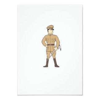 World War One British Officer Standing Cartoon 11 Cm X 16 Cm Invitation Card