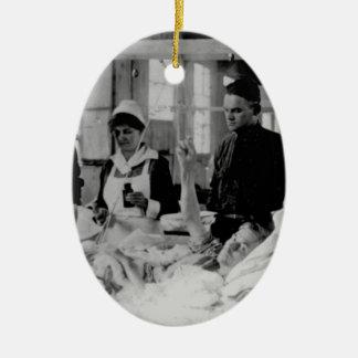 World War One Nurse Field Hospital Double-Sided Oval Ceramic Christmas Ornament