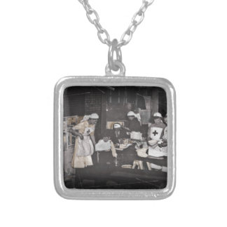 World War One Nurses Aid Station Square Pendant Necklace