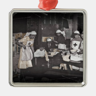World War One Nurses Aid Station Square Metal Christmas Ornament