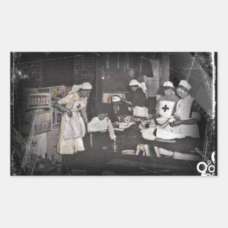 World War One Nurses Aid Station Rectangular Sticker