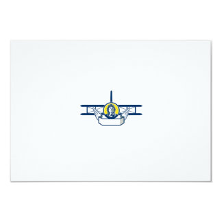 World War One Pilot Head Biplane Circle Retro Card