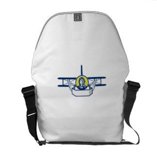World War One Pilot Head Biplane Circle Retro Courier Bag