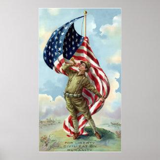 World War One Soldier -- Border Print