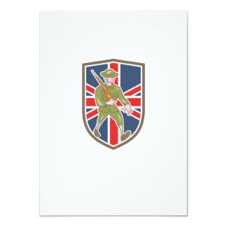 World War One Soldier British Marching Cartoon Shi 11 Cm X 16 Cm Invitation Card