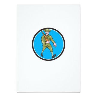 World War One Soldier British Marching Circle Cart 11 Cm X 16 Cm Invitation Card