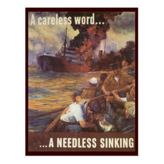 World War Postcards, Loose Lips Sink Ships! Postcard