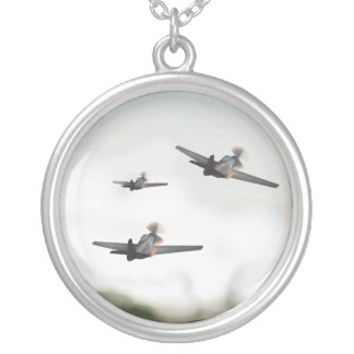 World War Two Aeroplanes Silver Plated Necklace
