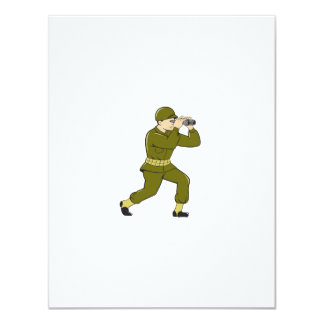 World War Two American Soldier Binoculars Cartoon Card