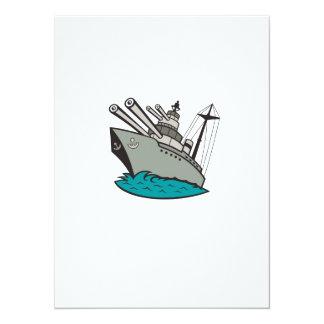 World War Two Battleship Cartoon Card