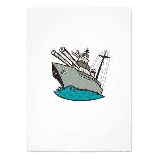World War Two Battleship Cartoon Personalized Invites