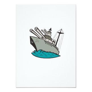 World War Two Battleship Cartoon 11 Cm X 16 Cm Invitation Card