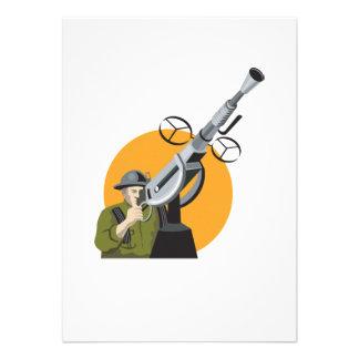 World War Two British Soldier Machine Gun Personalised Invite