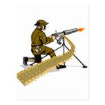 World war two british soldier with machine gun postcard
