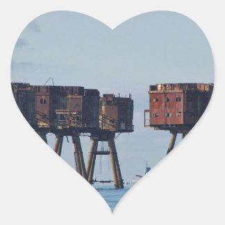 World War Two Estuary Defences Heart Sticker