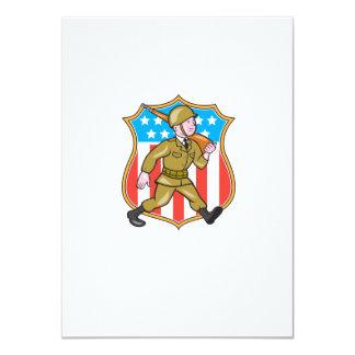 World War Two Soldier American Cartoon Shield 11 Cm X 16 Cm Invitation Card