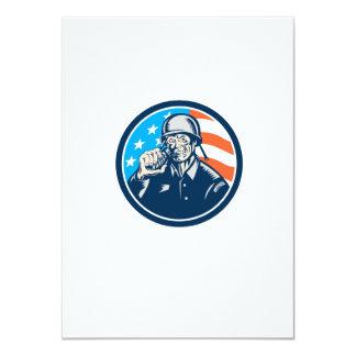 World War Two Soldier American Grenade Circle Wood 11 Cm X 16 Cm Invitation Card