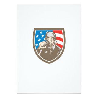 World War Two Soldier American Grenade Crest Woodc 11 Cm X 16 Cm Invitation Card