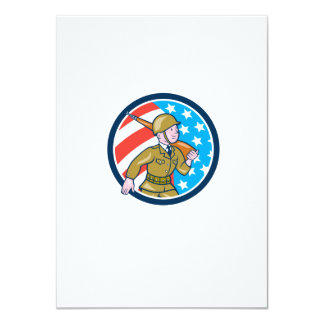 World War Two Soldier American Marching Cartoon Ci 11 Cm X 16 Cm Invitation Card
