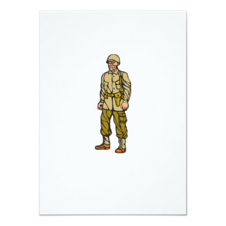 World War Two Soldier Standing Linocut 11 Cm X 16 Cm Invitation Card