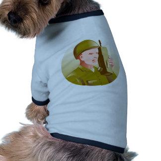 world war two soldier talking walkie talkie radio doggie shirt