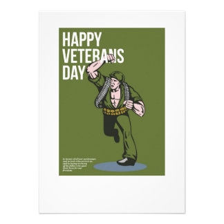 World War two Veterans Day Soldier Card Personalised Invitation