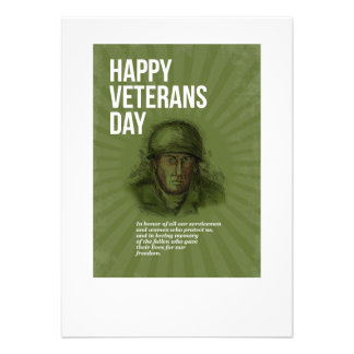 World War two Veterans Day Soldier Card Sketch Personalised Announcements