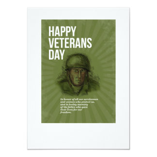 World War two Veterans Day Soldier Card Sketch 11 Cm X 16 Cm Invitation Card