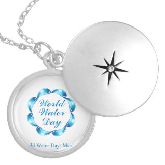 World water day March 22 Round Locket Necklace