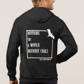 World Without Cages Unisex Zip Hoody (Dark colour)