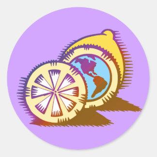 Worldly Lemons Round Sticker